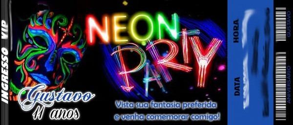 50 Convite Ingresso Balada Festa Neon Anos 70 48hrs