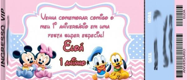 50 Convite Ingresso Mickey Ou Minnie Baby Disney Aniversário