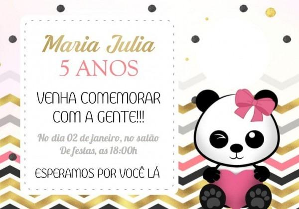 50 Convites Infantil Personalizado Panda Rosa Dourado Menina