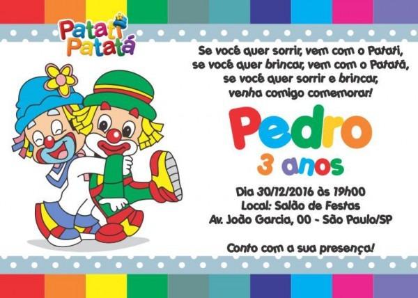 50 Convites Patati Patatá 14x10 Cm Aniversário