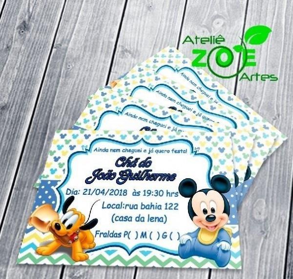 50 Convites Personalizados Chá De Fralda Disney Baby