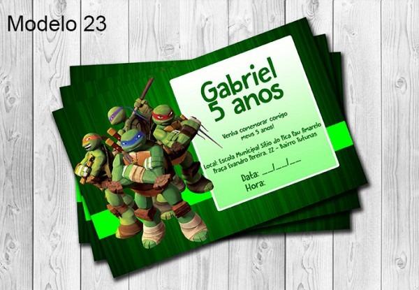 50 Convites Tartarugas Ninja Personalizados 10x15cm