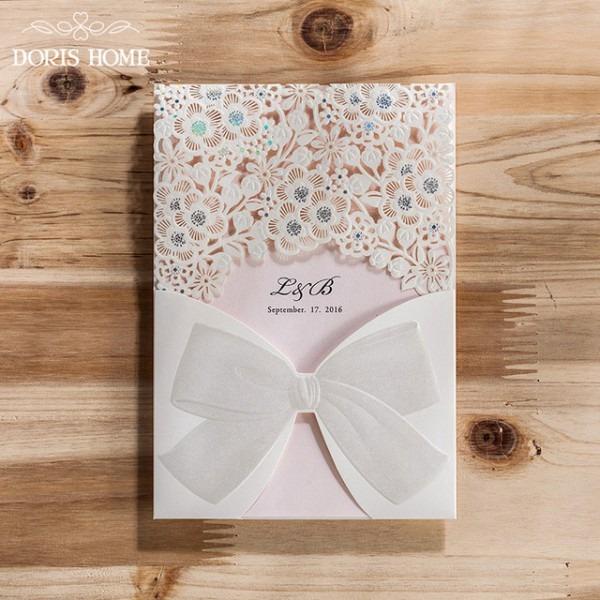 50 Pcs Laser Cut Do Convite Do Casamento Branco Oco Flora Vertical