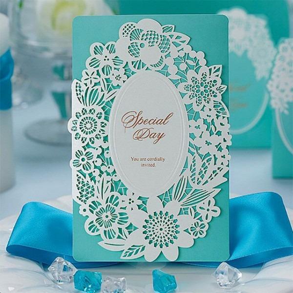 50pcs Summer Blue Sea Theme Invitations For Wedding Prinable Blank