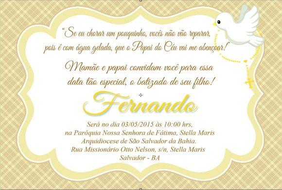 Convite Digital Batizado Menino