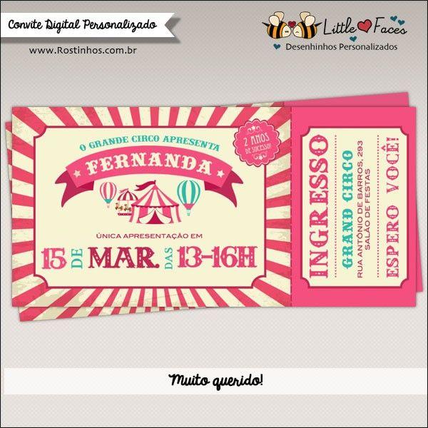 Convite Festa Circo Vintage Ingresso Menina Digital