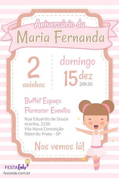 Convite De Aniversário Infantil Bailarina