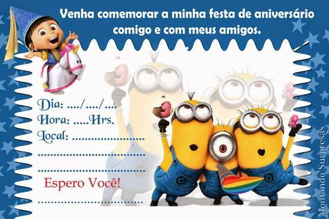 Convite Festa Minions Para Imprimir Em Casa