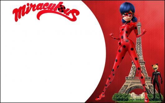 Convites Ladybug Com Cat Noir Na Torre Eiffel Para Imprimir Grátis
