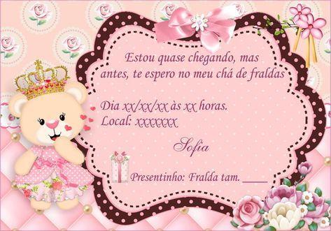 Convite Ursinha Princesa Para Chá De Bebê  Personalizamos Todos Os