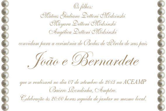 Texto Convite Bodas Perola
