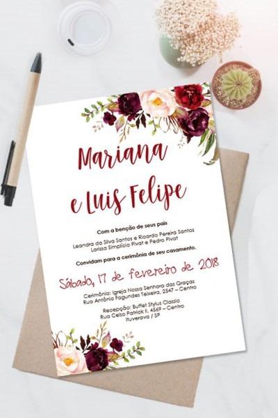 Convite Casamento Marsala Floral Editavel No Word  □clique No Pin