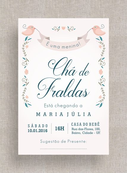 Convite Digital Chá De Fraldas 16 Chá De Bebê, Tema Retrô