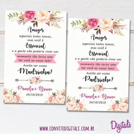 Convite Padrinhos Casamento Rosa Florido