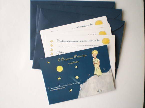 Convite Temático O Pequeno Príncipe Com Envelope À Pronta Entrega