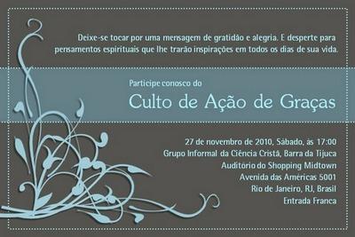 Cultos De Ação De Graças 2010!