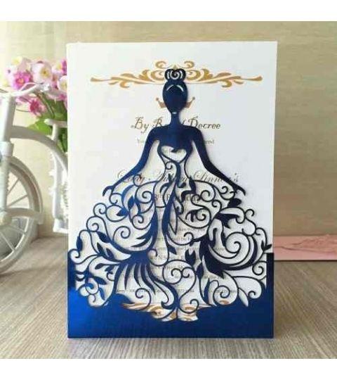 Silhouette Molde Convite Envelope Vestido Rendado