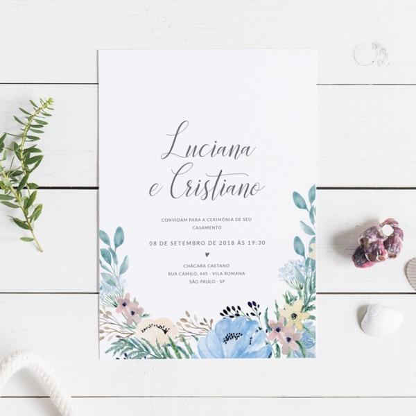 Convite De Casamento Azul Bebê (virtual + Arte Para Imprimir