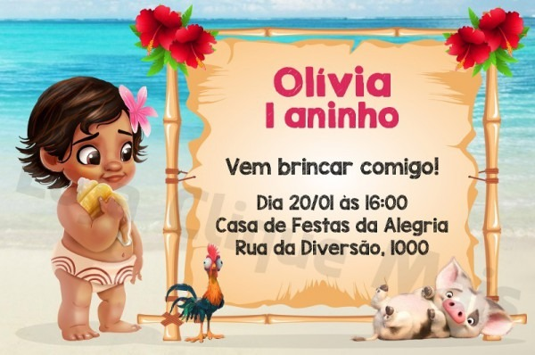 Arte Convite Digital Festa Aniversário Moana Baby