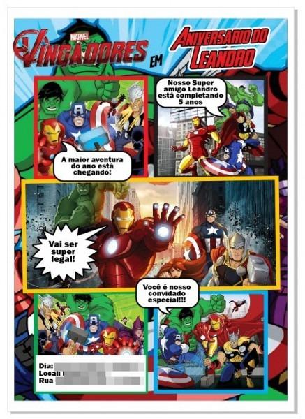 Arte Convite Digital Vingadores Marvel Gibi Envio Por Email