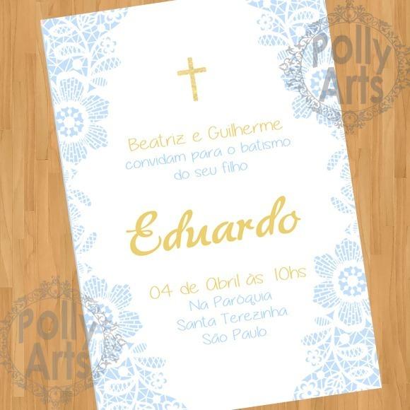 Arte Convite Digital Virtual Batismo Batizado Menino