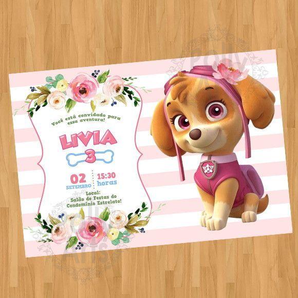 Arte Convite Digital Virtual Skye Patrulha Canina
