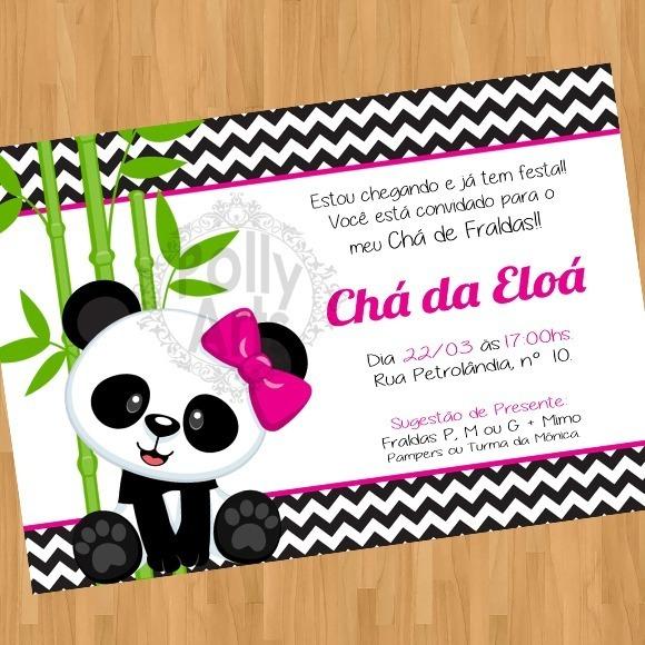 Arte Convite Digital Virtual Ursinha Panda Rosa Menina
