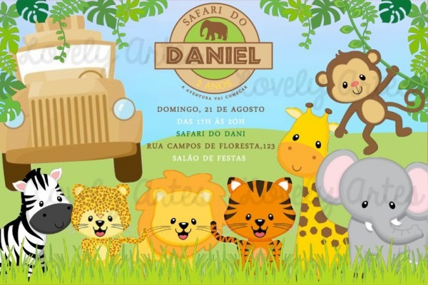 Arte Convite Safari Personalizado
