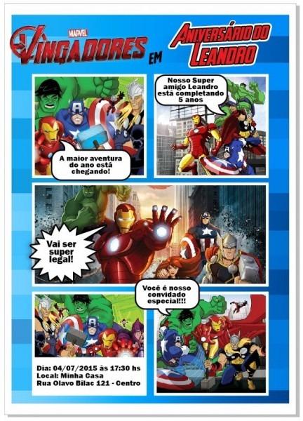 Arte Convite Vingadores Marvel Gibi Digital Envio Por Email