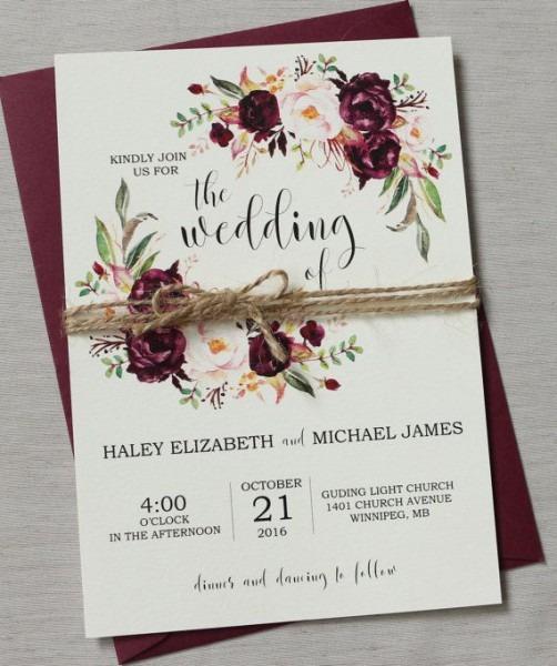 Marsala Wedding Invitation Suite, Bohemian Wedding Invite Set
