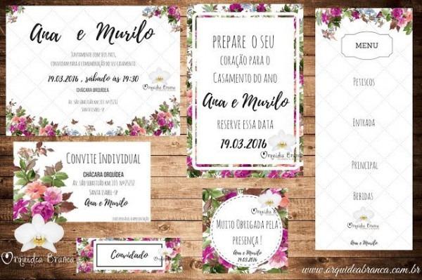 Kit Convite Floral Para Editar Gratís!