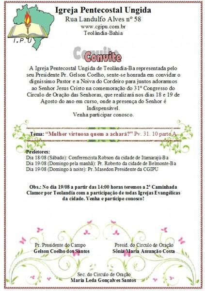 Convite Dos 31 Anos Do Círculo De Oração Da Ipu De Teolândia