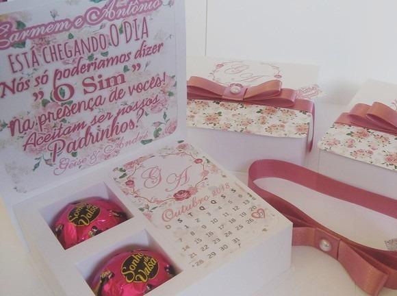 Caixa Box Convite Padrinhos Casamento P  2 Bombons