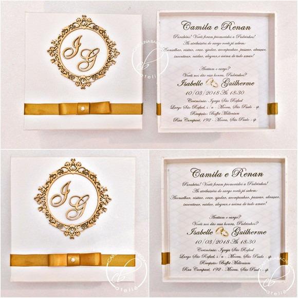 Caixa Convite Padrinhos De Casamento