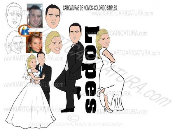 Caricaturas De Noivos Para Convite De Casamento