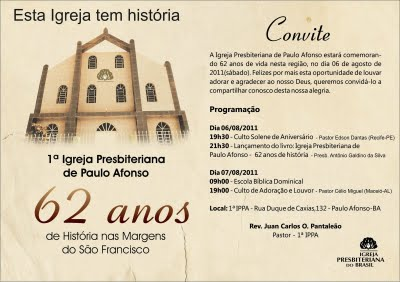 Carta Convite Para Aniversario De Igreja Evangelica 2 » Happy