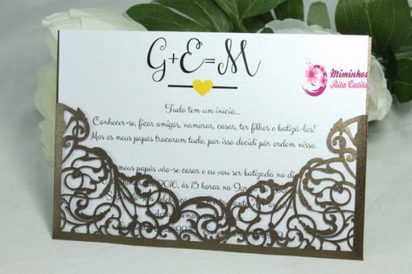 Ideias Convites Casamento Batizado