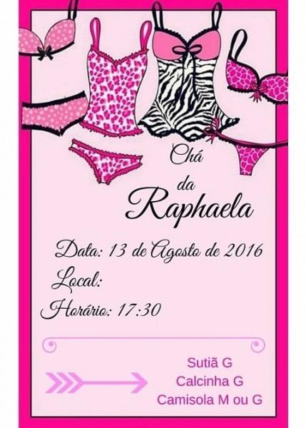 Convite Chá De Lingerie Da Rapha