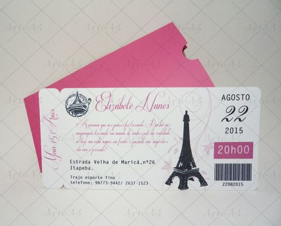 Convite 15 Anos Ticket Passagem Paris