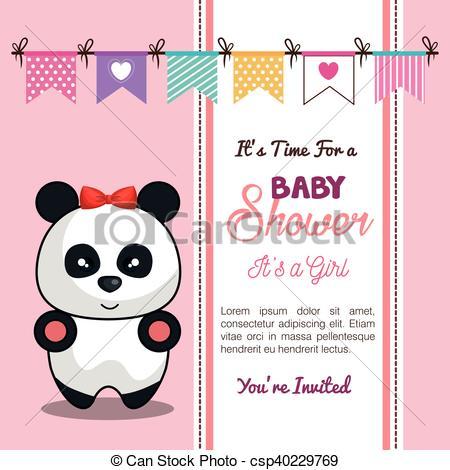 Chuveiro, Desing, Convite, Menina Bebê, Panda, Cartão  10, Eps