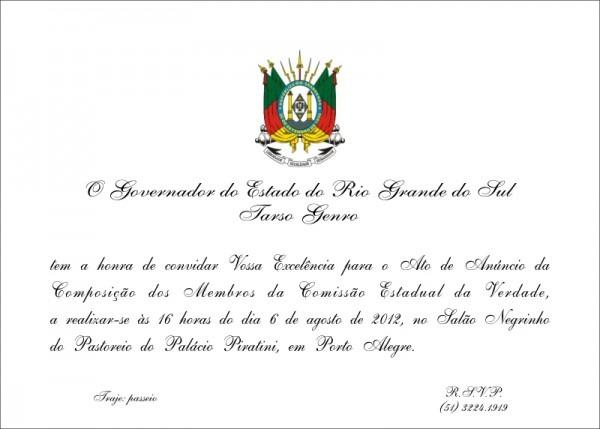 Convite Para Participação Na Cerimônia De Indicação Dos Membros Da