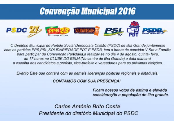 Portal Do Bikanca  Convite  Convenção Partidária Psdc De Ilha