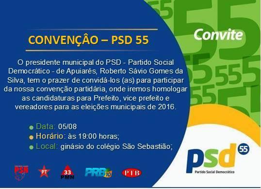 Apuiarés  Convenção Do Psd Foi Adiada Para O Dia 05 De Agosto