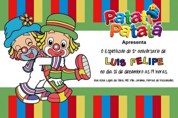 Convite De Aniversário Patati Patata