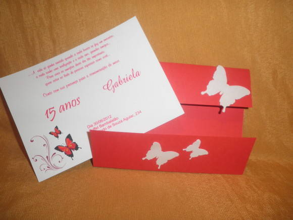 Convite 15 Anos Borboletas 24117b No Elo7