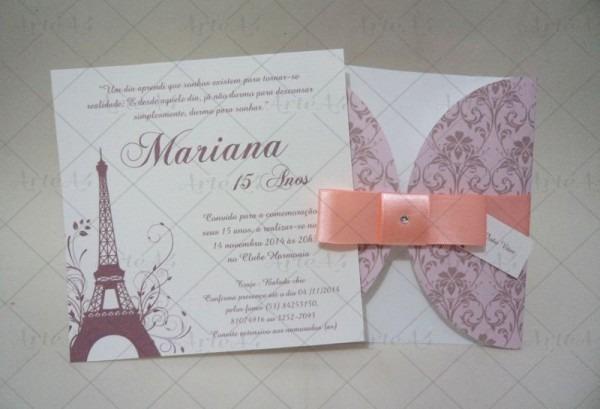 Convite 15 Anos Paris Envelope Impres  Q No Elo7