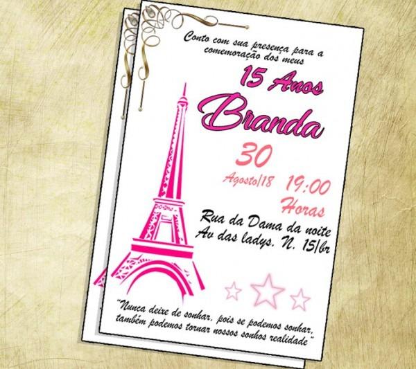 Convite 15 Anos Paris Digital No Elo7