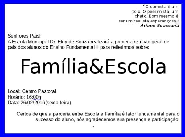 Escola Municipal Dr  Eloy De Souza  Convite Da 1ª ReuniÃo De Pais