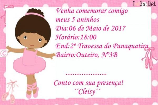 Convite De Aniversario Da Minha Pequena Bailarina!