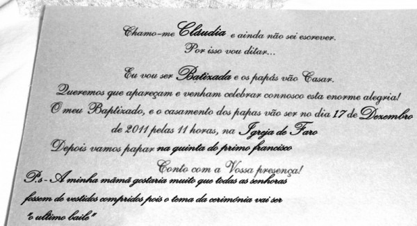 Ajuda!! Convites Casamento + Baptizado